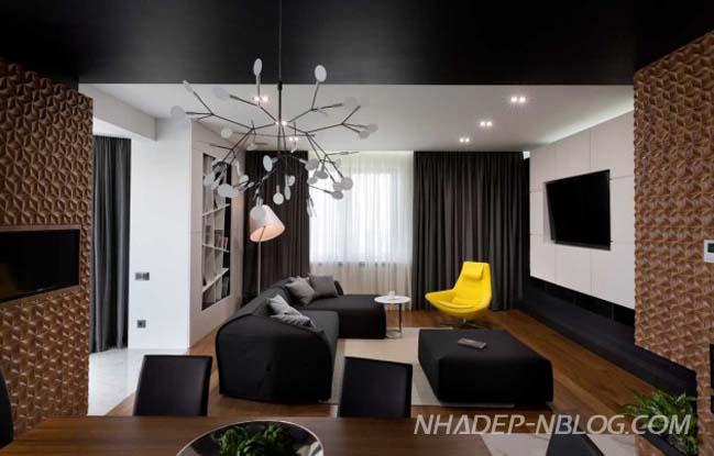 Căn hộ chung cư đẹp với những tấm ốp gỗ 3D