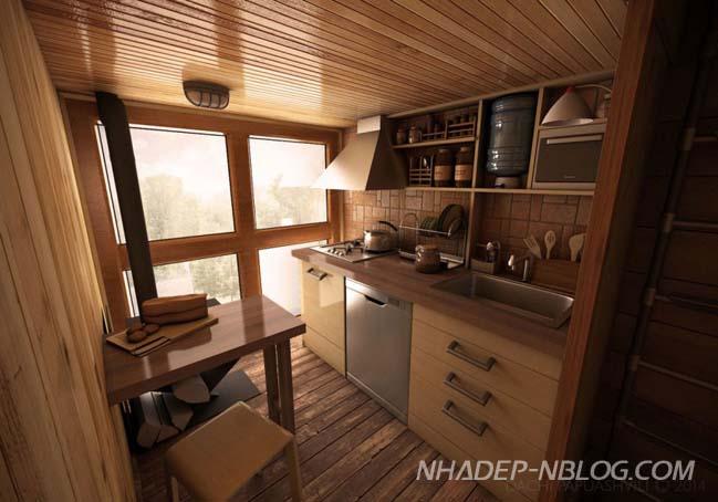 Ngôi nhà gỗ với kiến trúc chữ thập độc đáo