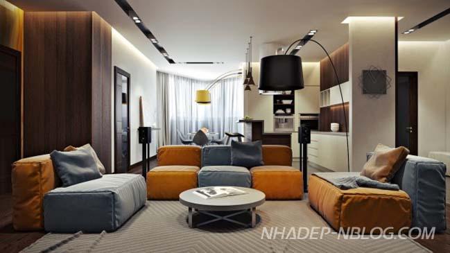 Phòng khách đẹp với không gian mở rộng rãi hiện đại