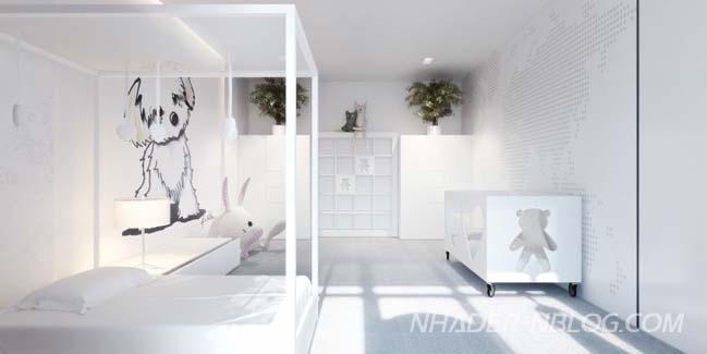Căn hộ 2 phòng ngủ với 2 màu trắng đen tương phản
