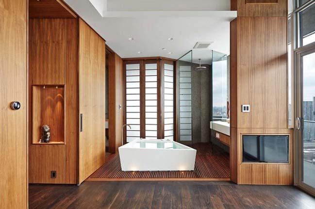Căn hộ chung cư với nội thất gỗ theo phong cách Nhật Bản