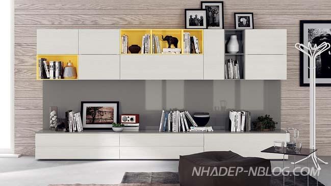 10 mẫu phòng khách đẹp với hệ thống tủ hiện đại