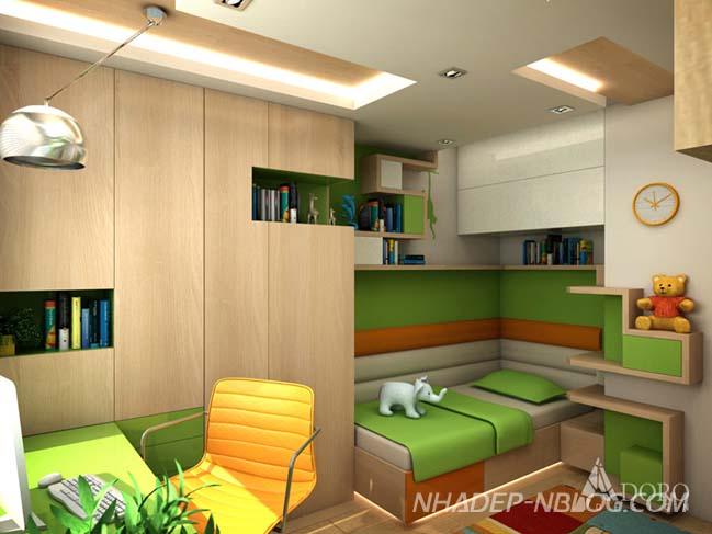 Phòng ngủ đẹp cho bé với tông màu xanh lá
