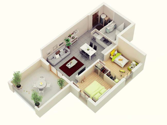 20 mẫu thiết kế căn hộ chung cư 2 phòng ngủ
