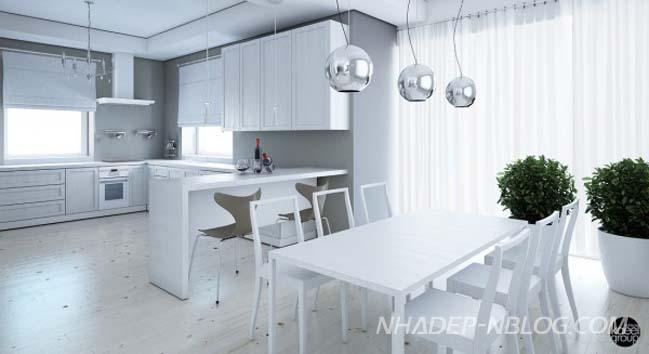 3 mẫu căn hộ chung cư đẹp với màu trắng chủ đạo
