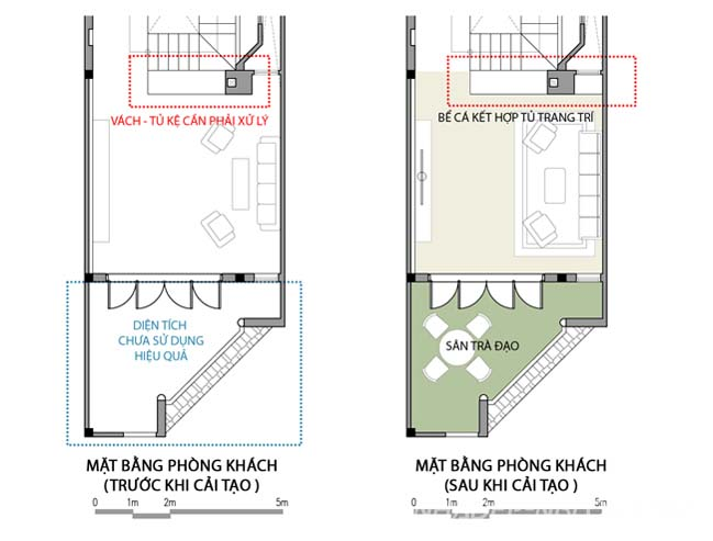 Cải tạo nhà phố đẹp với mặt bằng hình thang