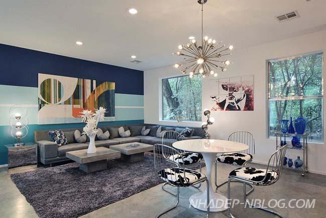 Tô điểm cho phòng khách đẹp bằng những bức tường kẻ sọc