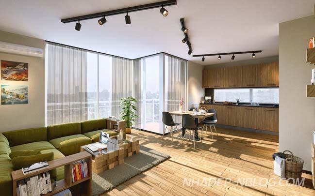 Căn hộ chung cư 60m2 với thiết kế nội thất gỗ ấm áp