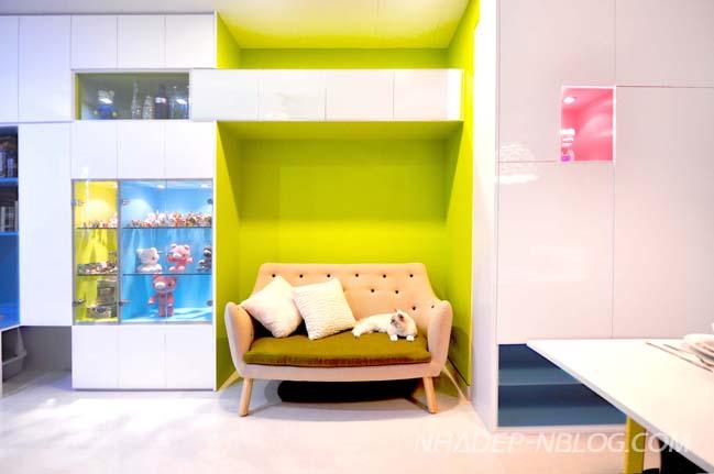 Thiết kế nội thất chung cư đầy màu sắc sinh động
