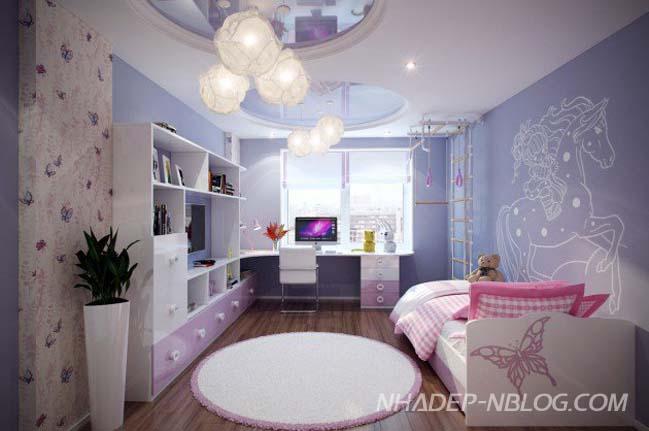 12 mẫu phòng ngủ đẹp cho trẻ với thiết kế trần độc đáo
