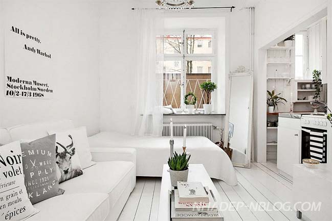 Nhà nhỏ đẹp 20m2 với phong cách Scandinavian trắng sáng