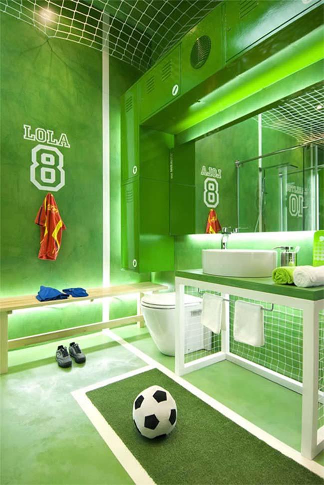 thiet ke phong tam dep voi chu de bong da 01 Cùng nhìn qua mẫu phòng tắm đẹp với chủ đề bóng đá