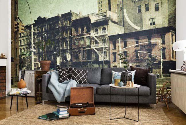 Tô điểm cho phòng khách đẹp với tranh tường