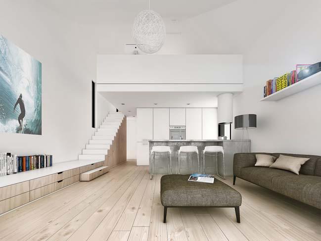 mau nha gac lung dep 03 Mẫu thiết kế nhà gác lửng đẹp với nội thất trắng sang trọng