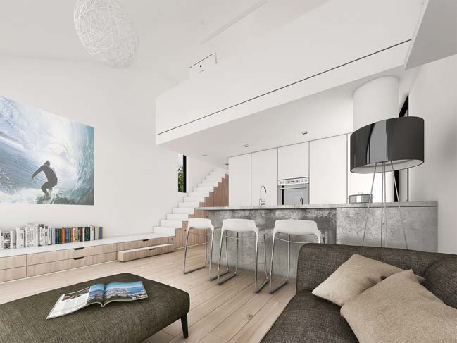 mau nha gac lung dep 04 Mẫu thiết kế nhà gác lửng đẹp với nội thất trắng sang trọng