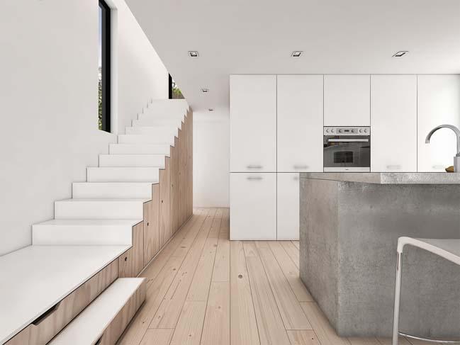 mau nha gac lung dep 05 Mẫu thiết kế nhà gác lửng đẹp với nội thất trắng sang trọng