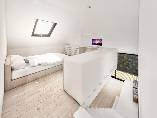 mau nha gac lung dep 06 Mẫu thiết kế nhà gác lửng đẹp với nội thất trắng sang trọng