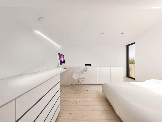 mau nha gac lung dep 07 Mẫu thiết kế nhà gác lửng đẹp với nội thất trắng sang trọng