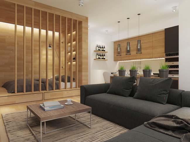 Thiết kế căn hộ chung cư 50m2 với nội thất gỗ ấm áp