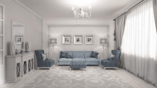 Phòng khách đẹp với thiết kế tân cổ điển sang trọng