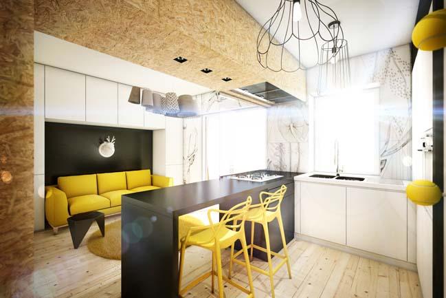 Căn hộ chung cư nhỏ 25m2 với điểm nhấn màu vàng