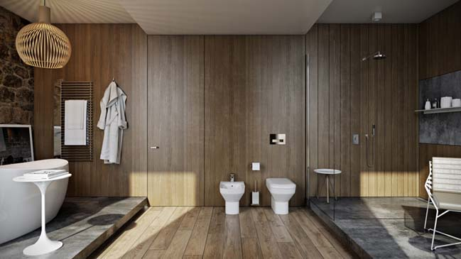 Thiết kế phòng tắm đẹp gần gũi với thiên nhiên