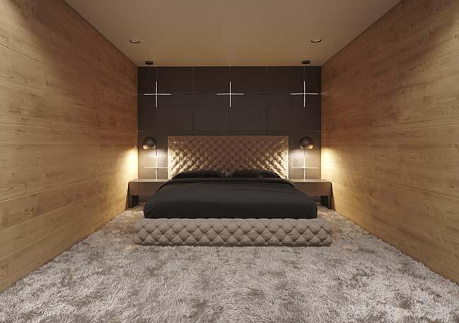 Mẫu căn hộ penthouse 2 tầng với nội thất gỗ sang trọng