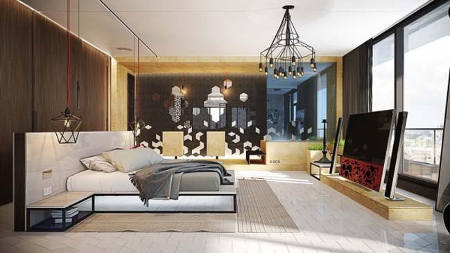 phong ngu dep voi thiet ke sang tao 01 Chiêm ngưỡng 5 mẫu phòng ngủ đẹp với thiết kế sáng tạo