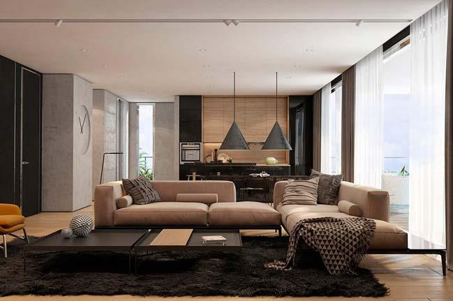 noi that can ho chung cu voi tong mau am ap 01 Thiết kế nội thất căn hộ chung cư với tông màu ấm áp