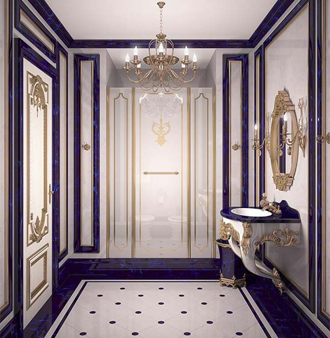 Phòng tắm đẹp sang trọng với phong cách Hoàng gia