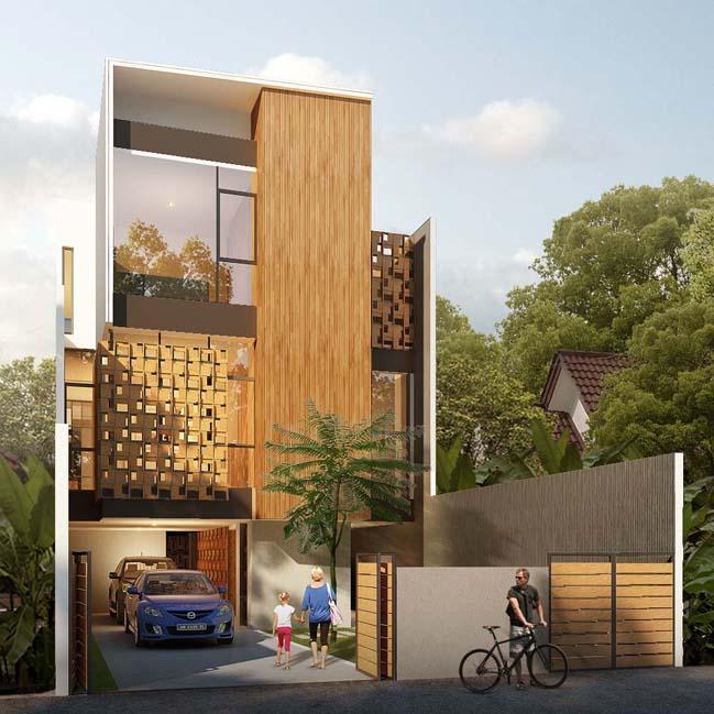 nha pho dep 3 tang voi noi that go hien dai 01 Thiết kế kiến trúc nhà phố đẹp 3 tầng với nội thất gỗ ấm áp