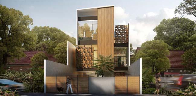 nha pho dep 3 tang voi noi that go hien dai 02 Thiết kế nhà phố đẹp 3 tầng với nội thất gỗ ấm áp