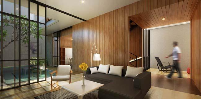 nha pho dep 3 tang voi noi that go hien dai 04 Thiết kế kiến trúc nhà phố đẹp 3 tầng với nội thất gỗ ấm áp