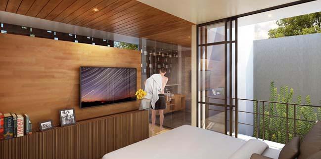 nha pho dep 3 tang voi noi that go hien dai 05 Thiết kế nhà phố đẹp 3 tầng với nội thất gỗ ấm áp