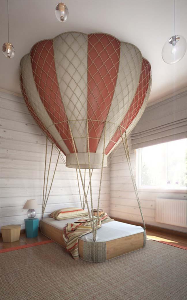 Phòng ngủ đẹp cho bé lấy cảm hứng từ khinh khí cầu