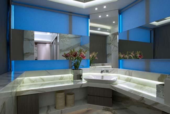 Thiết kế căn hộ chung cư với màu xám và xanh
