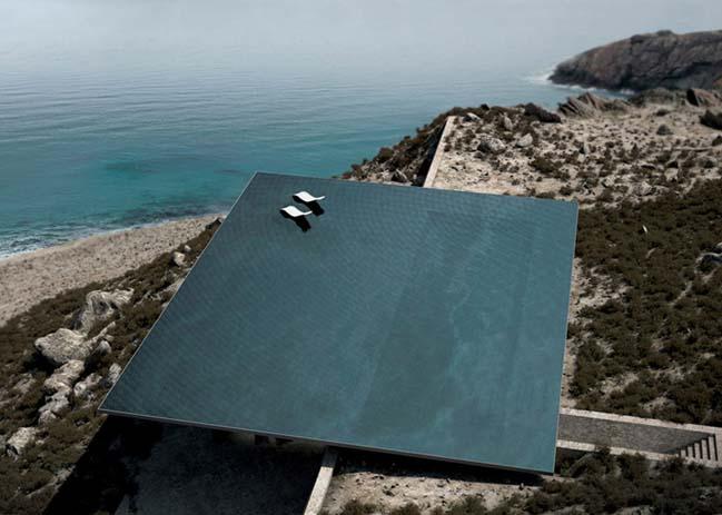 Choáng với thiết kế nhà đẹp có hồ bơi khổng lồ trên mái