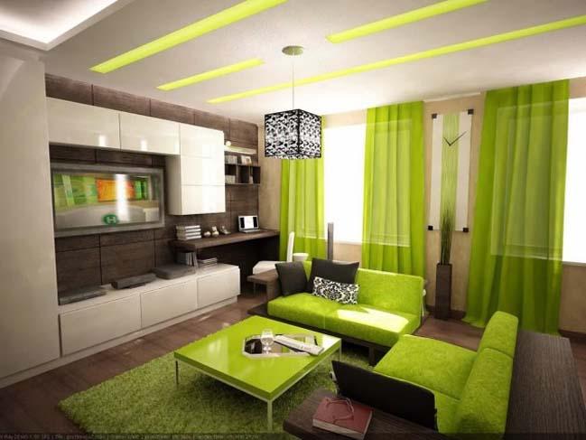 10 mẫu phòng khách đẹp với tông màu xanh lá