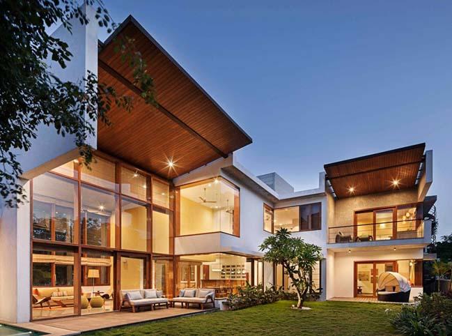 thiet ke biet thu dep 06 Thiết kế kiến trúc và thiết kế nội thất biệt thự đẹp hình chữ L