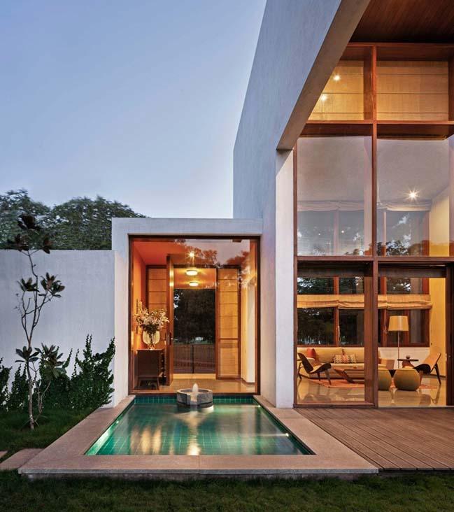 thiet ke biet thu dep 09 Thiết kế kiến trúc và thiết kế nội thất biệt thự đẹp hình chữ L