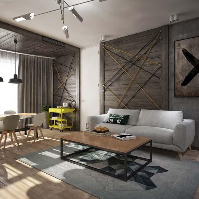 Căn hộ 1 phòng ngủ với tông màu trung tính