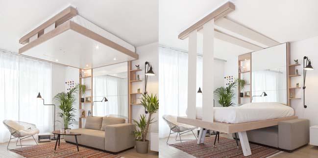 Tiết kiệm không gian với chiếc giường giấu trên trần nhà