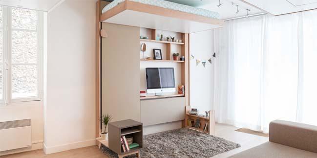 Tiết kiệm không gian với chiếc giường giấu trên trần
