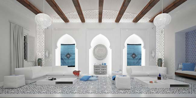 Mẫu phòng khách đẹp sang trọng với phong cách Ma rốc