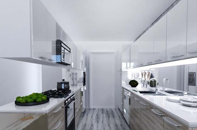 Nhà bếp đẹp với màu trắng sang trọng