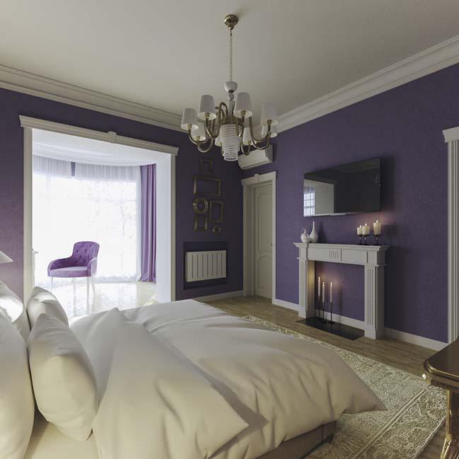 Mẫu phòng ngủ đẹp với tông màu tím nữ tính