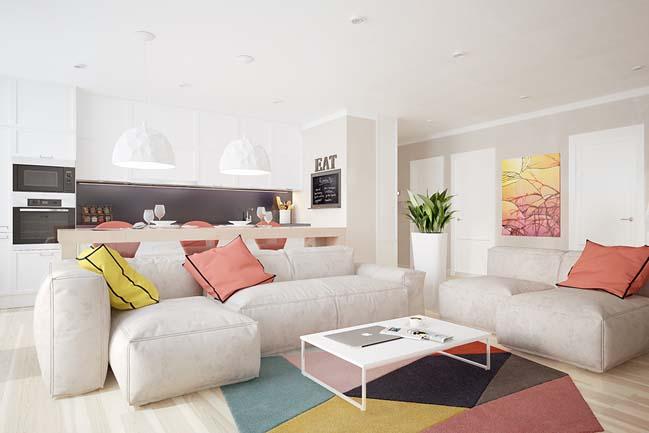 Thiết kế căn hộ chung cư với màu sắc xinh tươi