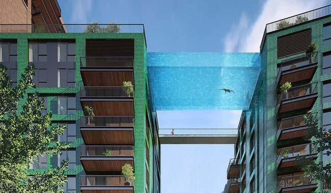 Thiết kế kiến trúc tòa nhà chung cư với hồ bơi giữa trời