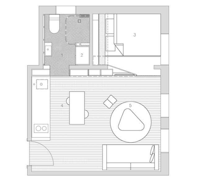 can ho nho dep 14 Gợi ý mẫu thiết kế nội thất của căn hộ 27m2