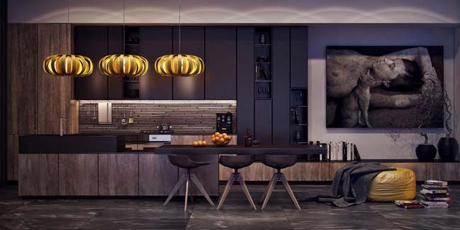 Nhà bếp đẹp với tông màu tối sang trọng